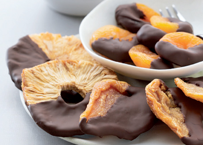 chocolate dipped dried fruits - a delicious snack