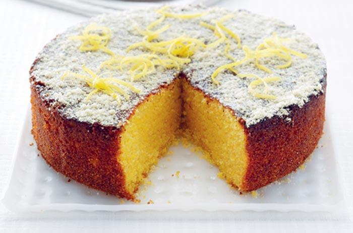 Lemon Polenta Cake In Oven