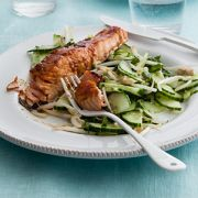 salmon glazed with chilli with a cucumber lime salad